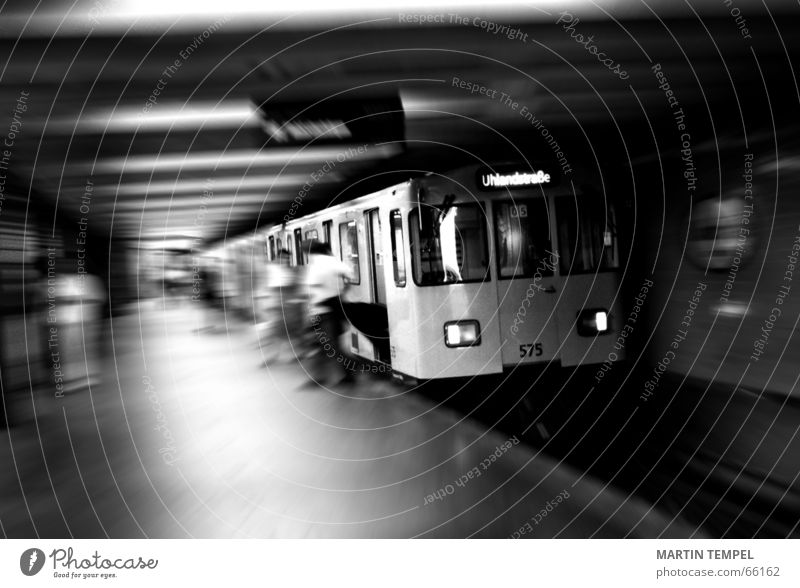 subway to uhlandstrasse Black & white photo Interior shot Copy Space bottom Motion blur Shallow depth of field Wide angle Technology Town Transport