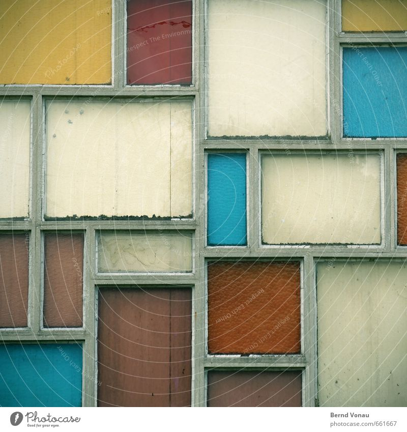 stained glass House (Residential Structure) Architecture Window Concrete Glass Old Dirty Retro Blue Yellow Green White Colour Arrangement Beige Seam Rectangle