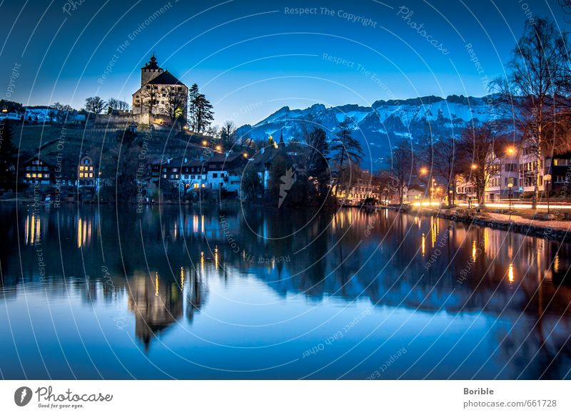 mirroring Landscape Cloudless sky Winter box Switzerland Village Old town Deserted Castle Discover Relaxation Vacation & Travel Looking Historic Positive