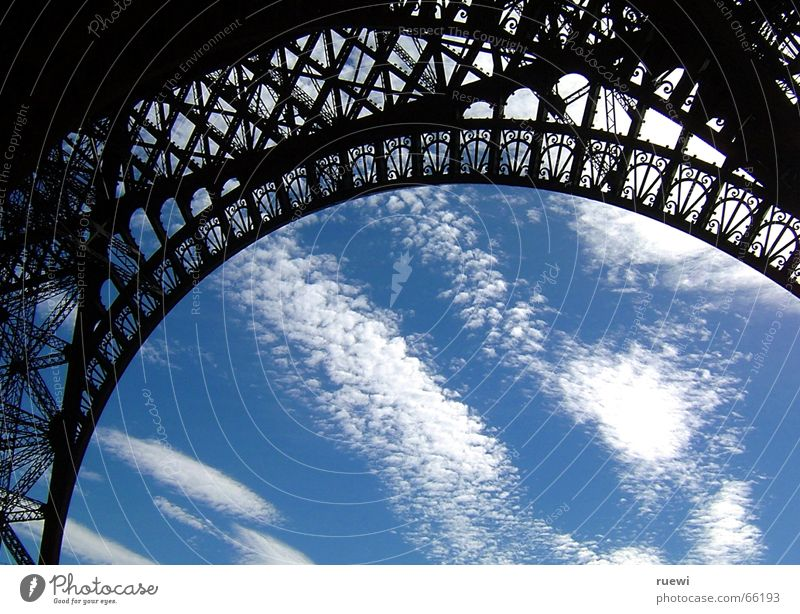 Eiffel Tower Tourism Summer Sky Clouds Paris France Europe Capital city Manmade structures Architecture Steel Observe Stand Old Large Romance Scaffold