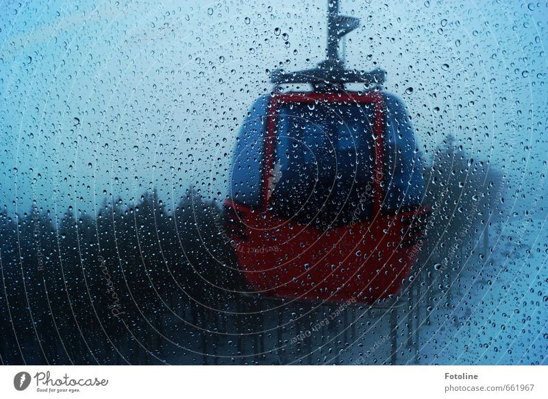 Winter was yesterday Nature Landscape Elements Water Drops of water Sky Plant Tree Forest Cold Wet Blue Red Gondola Cable car Colour photo Subdued colour