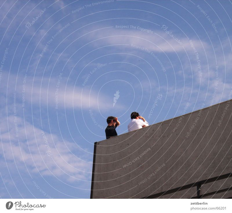 Human being Sky Man White Summer Clouds Black Couple Search In pairs Observe Vantage point Seat of government