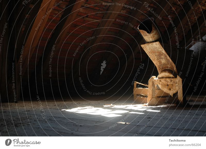 Goliath's granary David and Goliath Attic story Sunlight Wood Wooden floor Creepy Oppressive Loneliness Grain Transmission lines Old Rust spiderweb Metal Joist