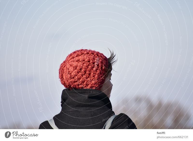 stubby hair Feminine Young woman Youth (Young adults) 1 Human being 18 - 30 years Adults Cap Beautiful Style Far-off places Knitted Calm To enjoy Closed eyes