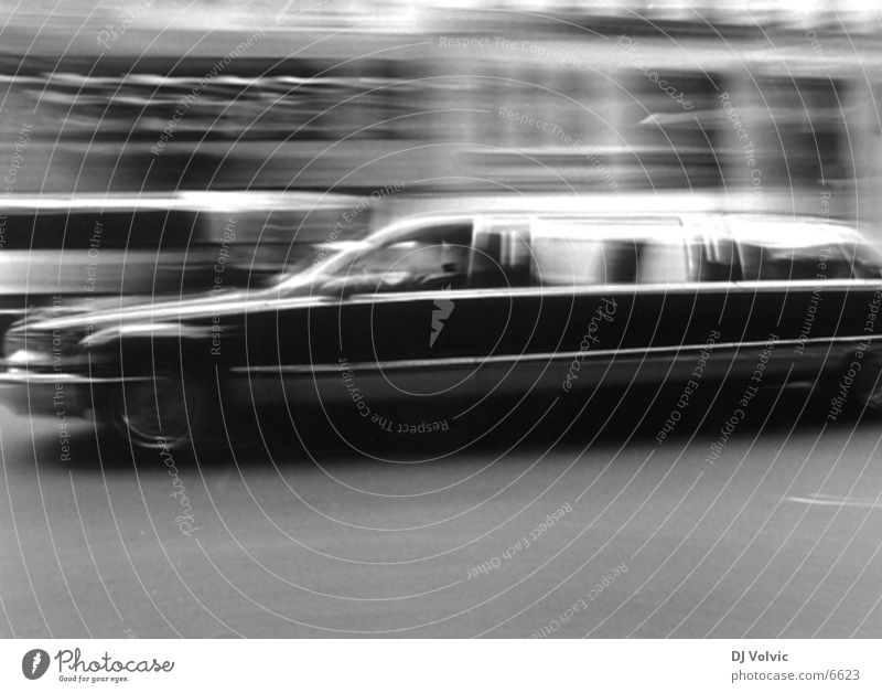 Way too fast New York City Black & white photo Stretch Limousine motion Movement Blur Car Luxury Lincoln Town Car