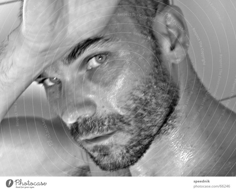 Man Hand White Face Black Eyes Head Masculine Wet Ear Facial hair Damp Self portrait Black & white photo Eyebrow Attractive