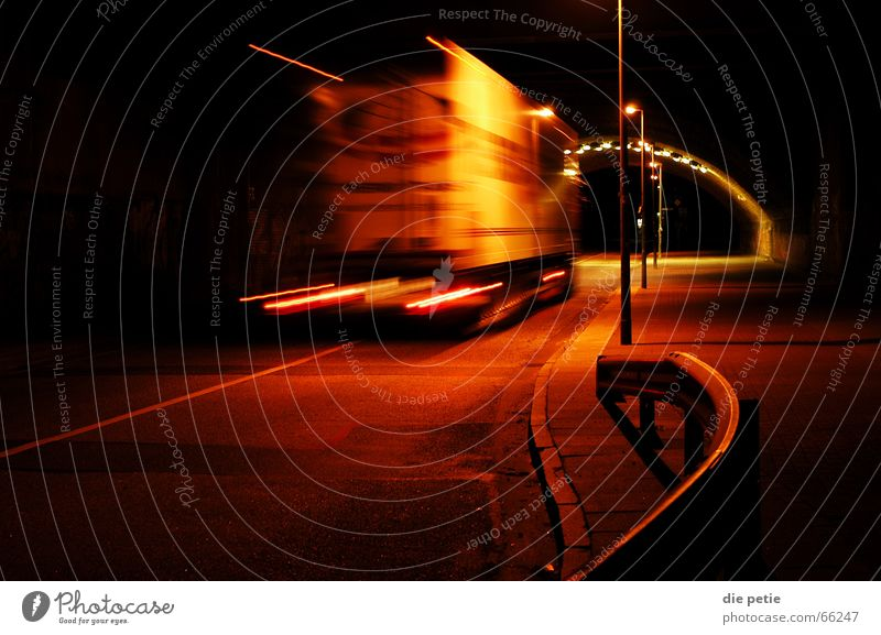Railroad Truck Tunnel Traffic light Depart Strip of light