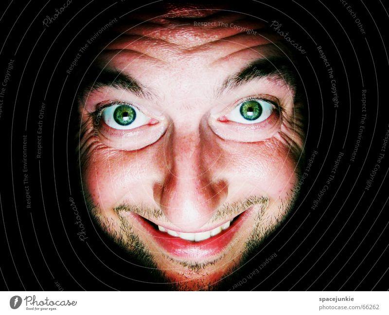 Human being Man Green Face Black Eyes Dark Mouth Warmth Crazy Physics Grinning Freak