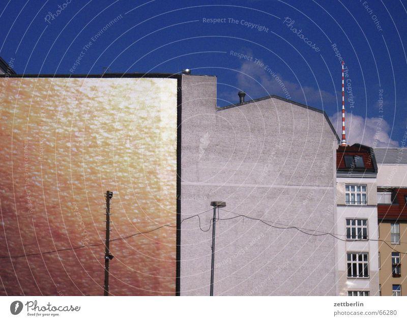 City Summer Berlin Wall (building) Gray Wall (barrier) Glittering Gold Facade Lantern Antenna Berlin TV Tower Dull Copy Space Fire wall