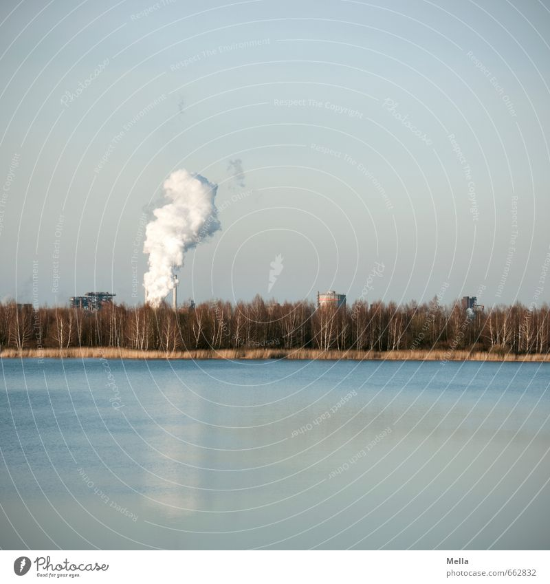 idyllic Advancement Future Energy industry Energy crisis Industry Environment Nature Landscape Elements Air Water Sky Forest Lake Outskirts Chimney Smoke