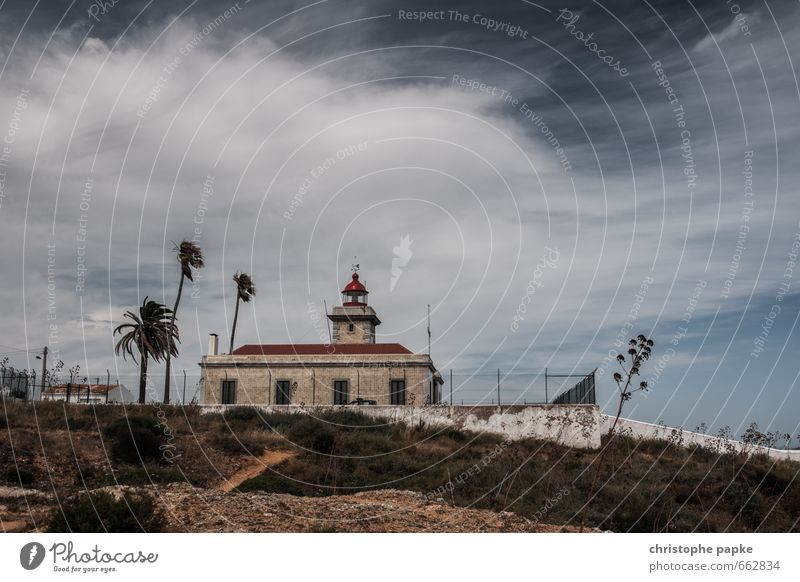 Stormy times Vacation & Travel Trip Far-off places Freedom Summer Summer vacation Ocean Sky Clouds Bad weather Wind Gale Portugal Fishing village Lighthouse