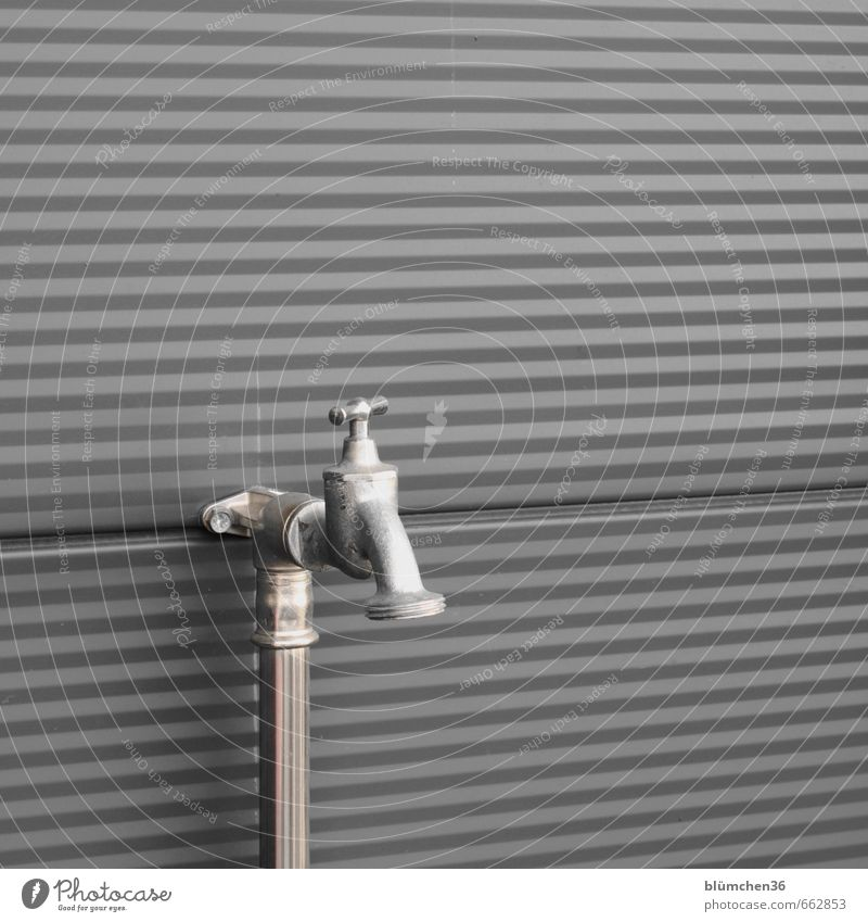 real water supply. Tap Wall (building) Part of a building Building Metal Steel Cold New Water supply Water resources management Screw thread Clean
