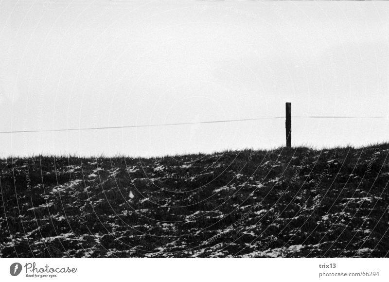 fence Fence Meadow Pole Black White Hill fenced Sky