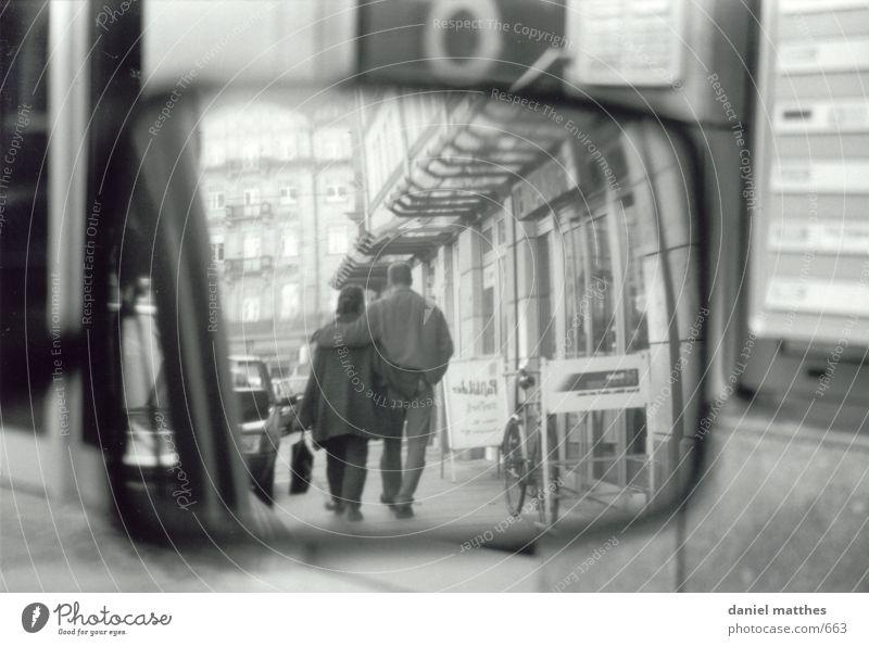 Human being Love Car Mirror Black & white photo