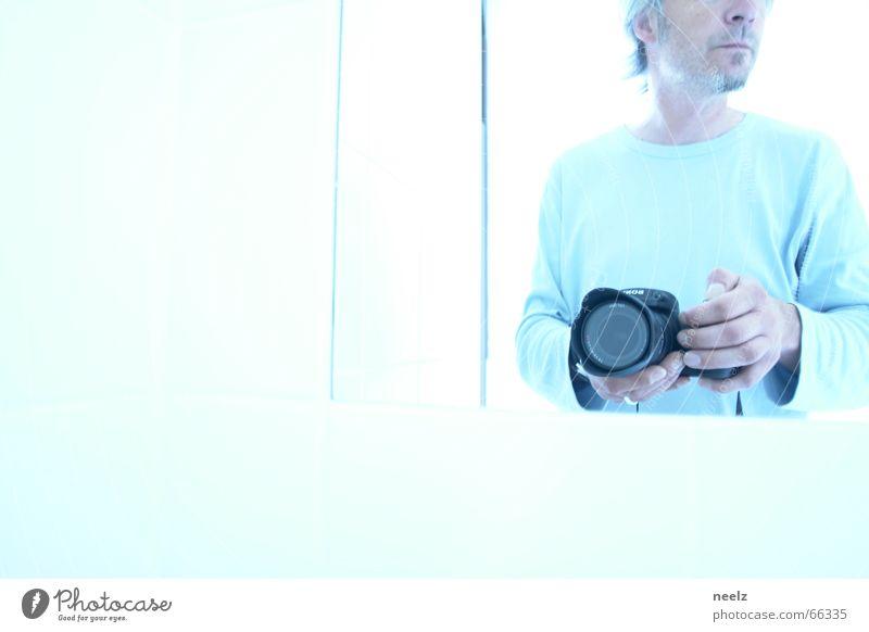 light blue Man Mirror Blue Human being Looking Lens cam