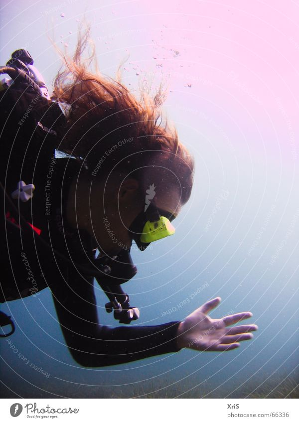 Hand Sun Blue Hair and hairstyles Mask Dive Underwater photo Air bubble Water wings Diver Algae Diving equipment