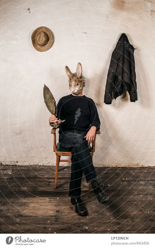 STUDIO TOUR is the most beautiful bunny in town. III Human being Masculine Man Adults 1 Wall (barrier) Wall (building) Wild animal Hare & Rabbit & Bunny Animal