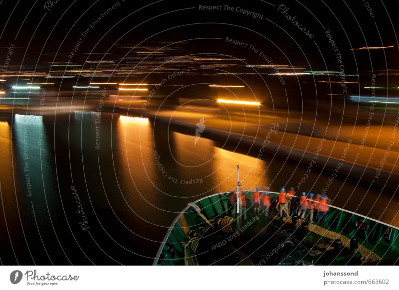 Late homecoming Sailor Commisioned officer Human being Group Ocean Means of transport Navigation Passenger ship Harbour Driving Vacation & Travel Wait Dark