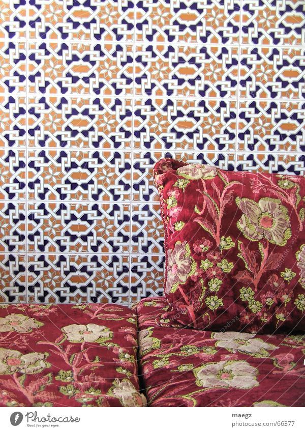 Ride to Agadir Wall (building) Pattern Near and Middle East Sofa Red Flower Cushion Cozy Relaxation Vacation & Travel Interior shot Morocco Tile Freedom Foreign