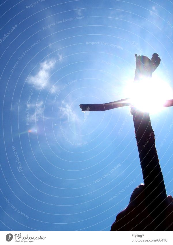 sun cross Sun Sunbeam Deities Jesus Christ Prayer Hand Clouds Strong Back Sky Blue God To hold on Mountain ...
