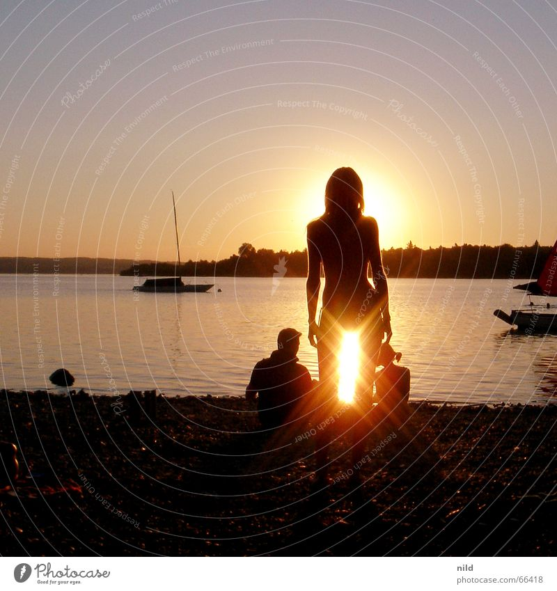 sex(y) on the beach Woman Back-light Lake Beach Vacation & Travel Bikini Sunset Watercraft Lake Ammer 3 Silhouette Dazzle sea angle Couple Calm