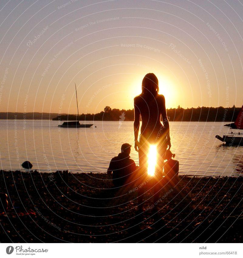 Woman Beach Vacation & Travel Calm Bavaria Couple Lake Watercraft 3 Bikini Dazzle Sunset Lake Ammer