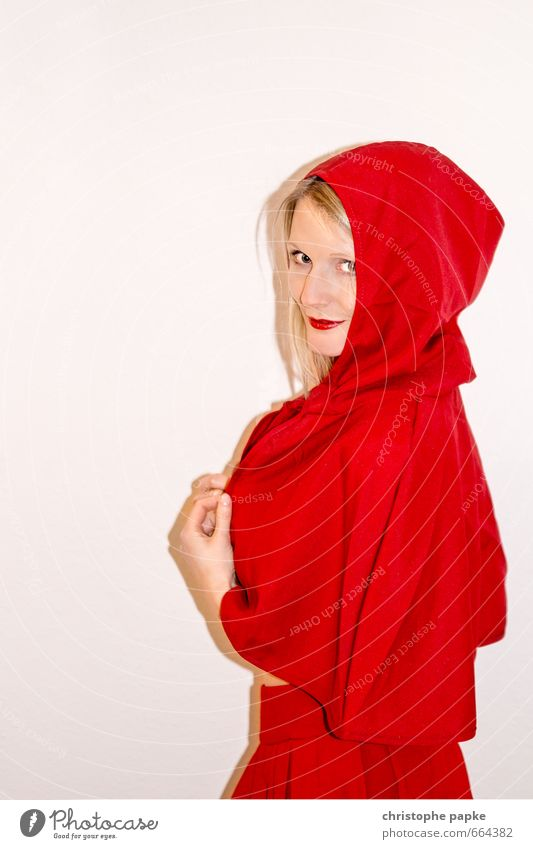 Little Red Riding Hood Joy Carnival Young woman Youth (Young adults) Woman Adults 1 Human being 18 - 30 years 30 - 45 years Event Shows Party Clothing Coat