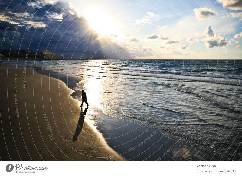 Human being Blue Ocean Clouds Calm Far-off places Going Masculine Waves Gold Trip Adventure Mediterranean sea Israel Israeli Water