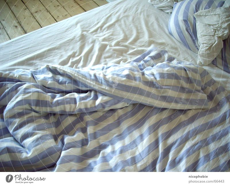 White Blue Bright Bed Floor covering Stripe Wrinkles Hallway Blanket Striped Cushion Sheet Bedclothes Untidy Dance floor Arise
