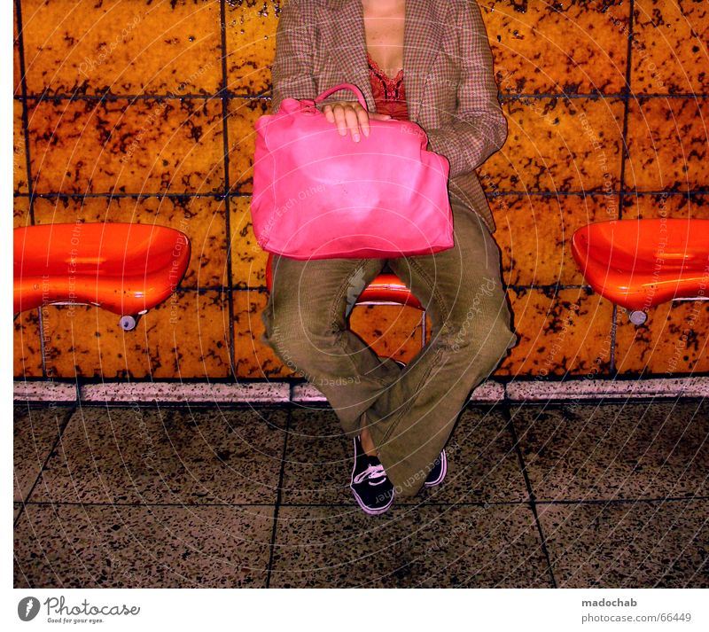 Woman Loneliness Colour Legs Fashion Orange Pink Sit Wait Lifestyle Bench Bag Magenta Gaudy