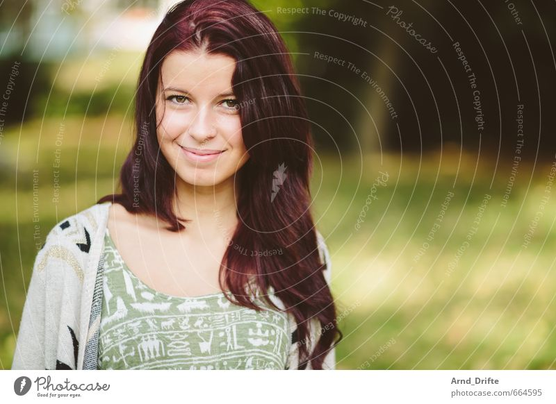 portrait Beautiful Feminine Young woman Youth (Young adults) Woman Adults 1 Human being 18 - 30 years Tree Park Meadow Smiling Esthetic Fresh Healthy Happy