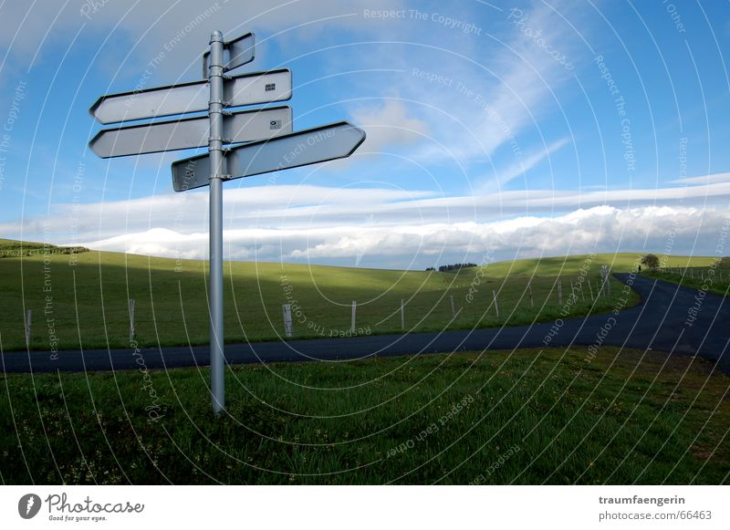 Disoriented False Unnatural Structures and shapes Flat Future Dream Clouds Fence Field Grass Meadow Auvergne France Road marking Signs and labeling