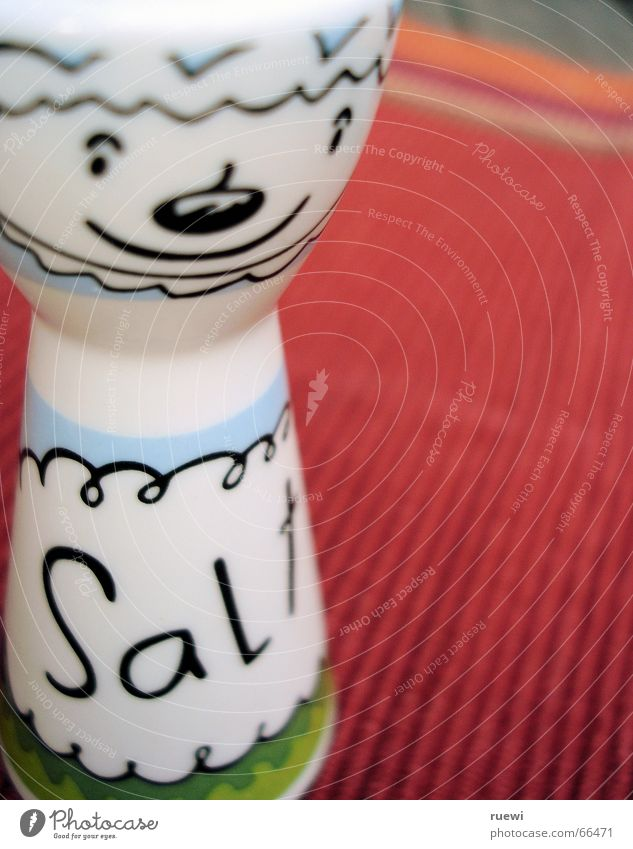 salt Food Herbs and spices Cooking salt Nutrition Salt caster Decoration Laughter Red White Grinning Animal figure Partially visible Detail Section of image