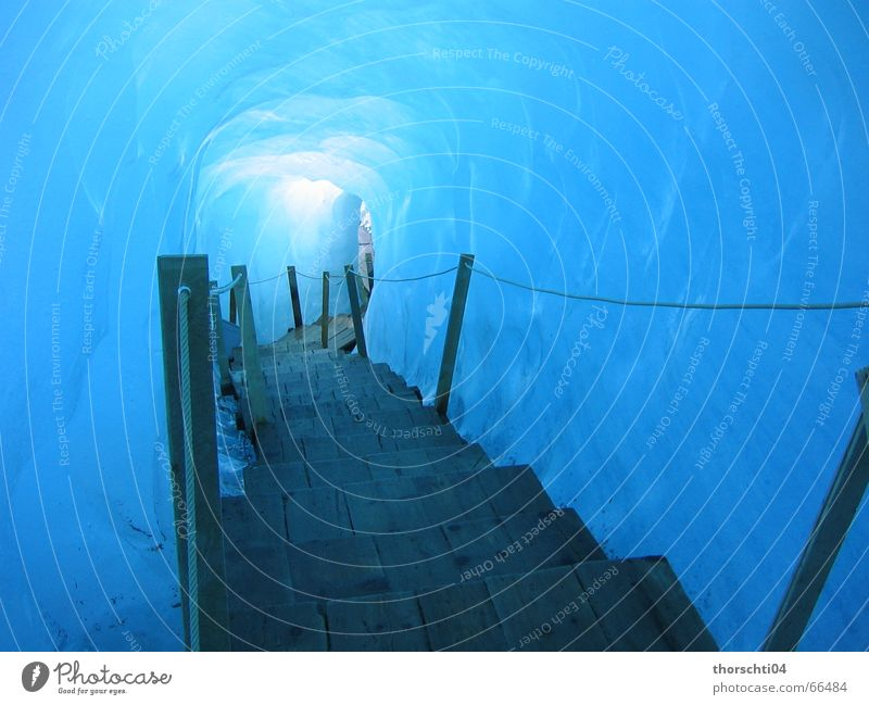 Way into the ice Glacier Cave Cold Winter Light Ice Lanes & trails Paradise Empty Lamp Blue