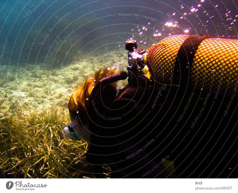Green Blue Mask Dive Air bubble Diver Algae Underwater photo Diving equipment