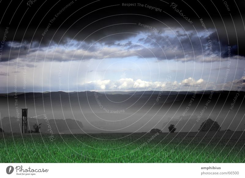 Nature Sky Clouds Loneliness Meadow Fog Weather Americas Hunting Rural Hunter April Hunting Blind Franconia