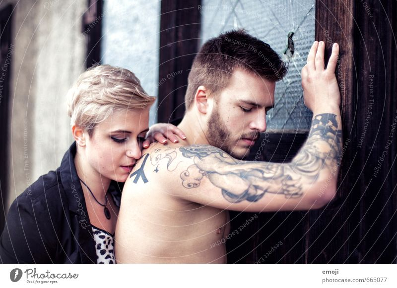 drawings Masculine Feminine Young woman Youth (Young adults) Young man Couple 2 Human being 18 - 30 years Adults Hip & trendy Tattoo Colour photo Exterior shot