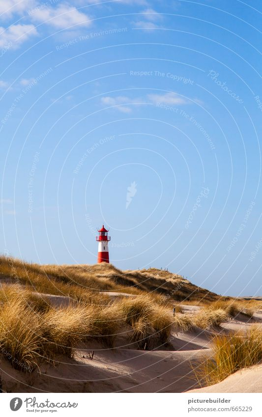 lighthouse Nature Landscape Sand Air Sky Beautiful weather marram grass Coast Beach Deserted Lighthouse Signs and labeling Vacation & Travel Relaxation Tourism