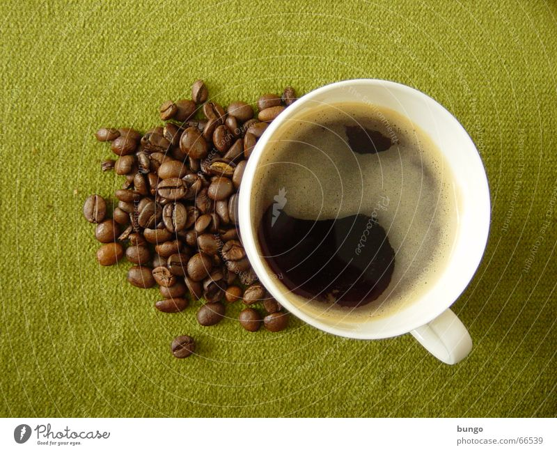 Green Calm Black Relaxation Brown Coffee Cloth Drinking Peace Concentrate To enjoy Cup Foam Espresso Beverage Beans