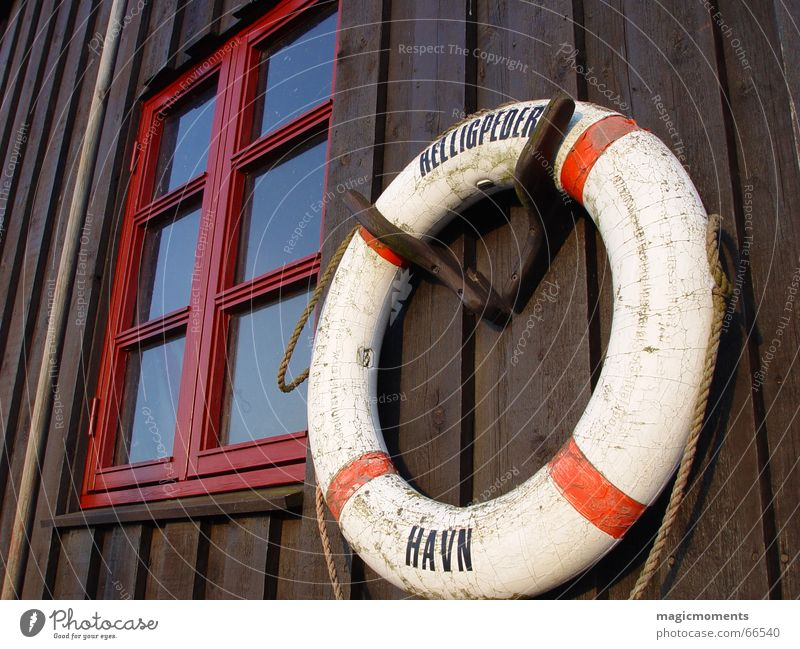 salvation Bornholm Window Rescue Life belt Red House (Residential Structure) Wood Brown Round Circle Harbour