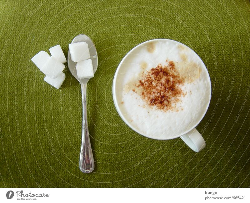 Green Relaxation Calm Brown To enjoy Sweet Coffee Peace Cloth Cup Chocolate Cream Sugar Foam Spoon Beverage