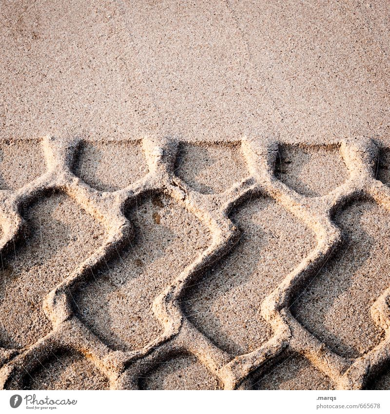 Sand in the gearbox Work and employment Construction site Tracks Imprint Skid marks Build Driving Change Colour photo Exterior shot Detail Abstract Pattern