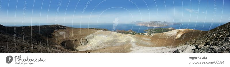 Summer Warmth Landscape Large Island Physics Panorama (Format) Volcano Italy Sicily Volcanic crater Vulcano