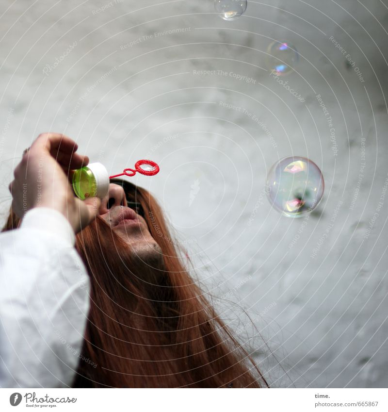 Human being Wall (building) Wall (barrier) Hair and hairstyles Time Stone Dream Esthetic Idea Joie de vivre (Vitality) Long-haired Whimsical Ease Soap bubble Red-haired Hippie