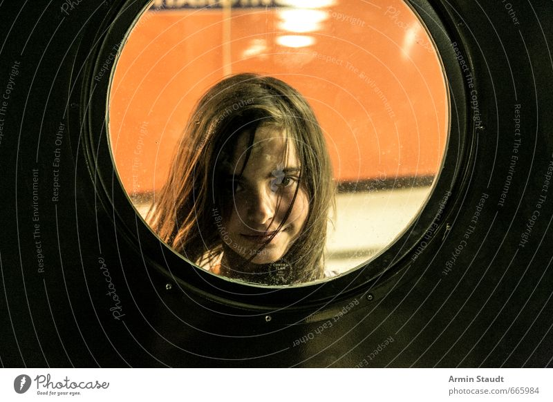 Portrait in the porthole Feminine Woman Adults Youth (Young adults) 1 Human being 13 - 18 years Child Wind Navigation Passenger ship Porthole Smiling