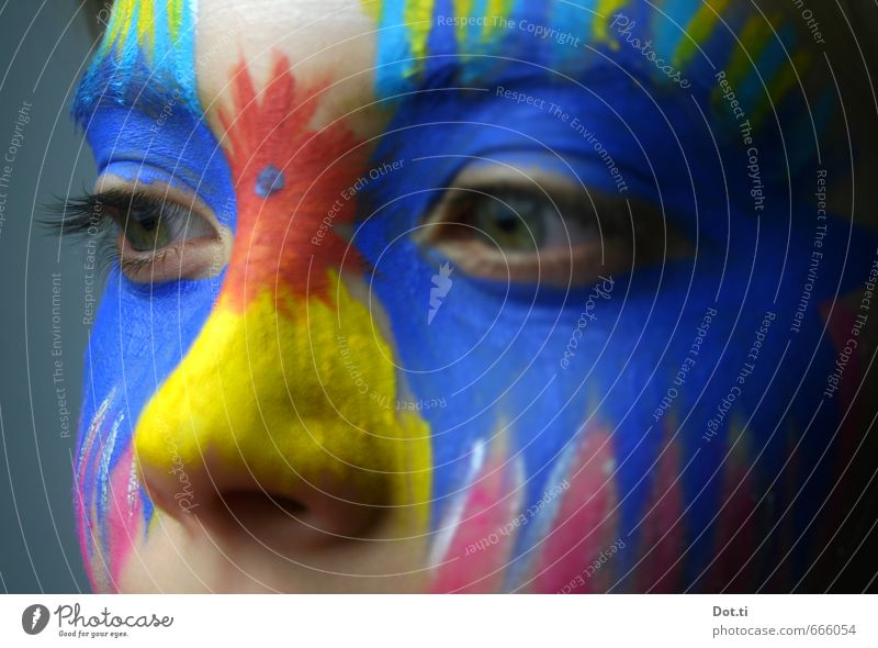 Child with painted face Face Eyes Nose 1 Human being 8 - 13 years Infancy Crazy Blue Multicoloured Yellow Carnival Make-up Painted Prongs Carnival costume