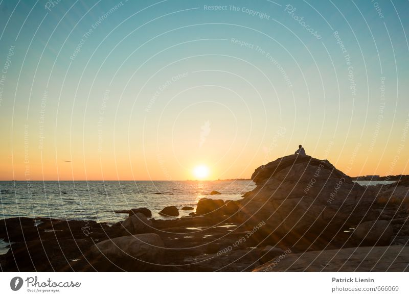 Ocean Stone Well-being Contentment Senses Relaxation Calm Meditation Environment Nature Landscape Elements Sky Sky only Sun Sunrise Sunset Sunlight Summer