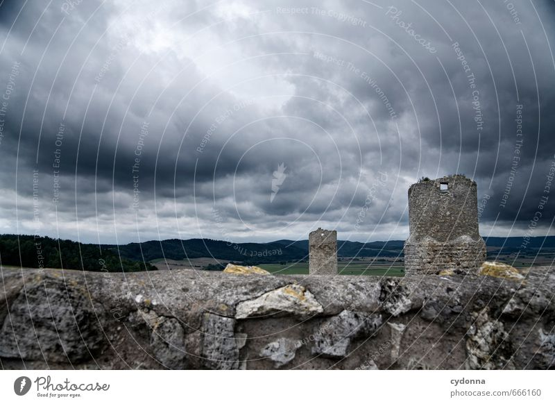 Dark Middle Ages Vacation & Travel Tourism Adventure Far-off places Hiking Environment Nature Landscape Storm clouds Summer Gale Hill Castle Ruin Tower