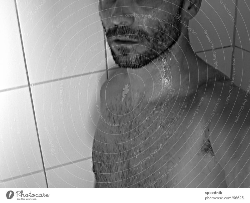Man White Black Naked Masculine Wet Chest Facial hair Shower (Installation) Things Damp Perspiration Stopper Stubble Designer stubble