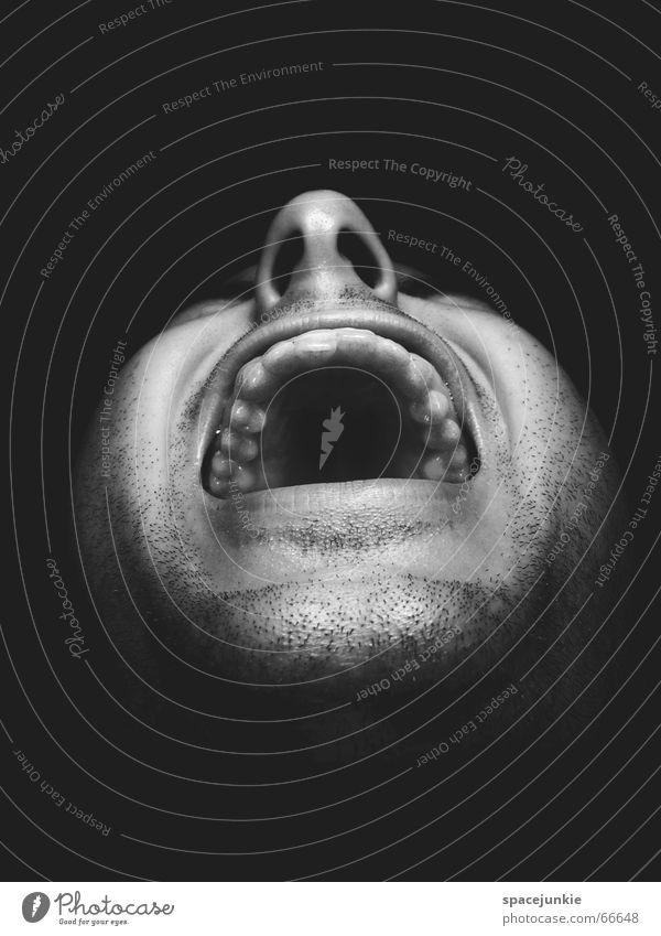 Human being Man Black Face Dark Fear Crazy Force Scream Evil Freak Alarming Show your teeth